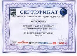 Дипломы Сертификат участника семинара Романа Фомина