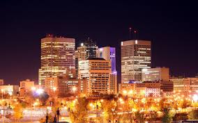 Winnipeg Night Skyline Manitoba Canada ...
