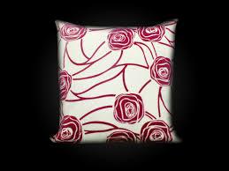 Kissenhülle Kissenbezug Sofakissen Creme Rosa 45x45 Ornamente Rose Reißverschluß