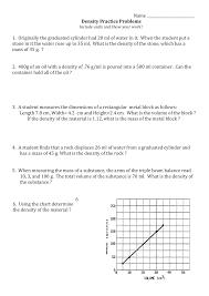 Metal Density Chart G Ml 8th Grade Chemistry Density Problems