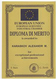 Европейская научно промышленная палата наградила директора ННИИПК diploma jpg