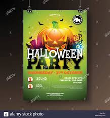 Green Party Flyer Halloween Party Flyer Vector Illustration With Scary Faced