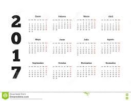 year calender 2017 year calendar in spanish isolated on white stock