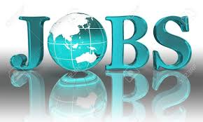 Jobs Logo Word And Blue Earth Globe Stock Photo, Picture And Royalty Free  Image. Image 12727855.