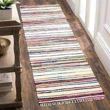 rag runner rug rag rug transitional stripe hand woven cotton ivory multi runner rug 2 rag