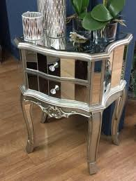 antique mirrored furniture. Antique Mirrored Two Drawer Bedside Table - Furniture Sparkle Diamond House Of Sparkles