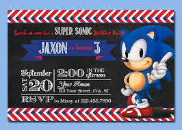 Birthday Invatations Sonic The Hedgehog Digital Chalkboard Birthday Invitations