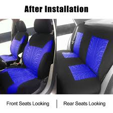 wish universal 9 pieces full set tyre track embossed fashion car seat cover fit for 60 40 40 60 split rear bench