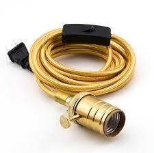 vintage gold pendant light lamp cord w satin brass finish 11ft braided cloth