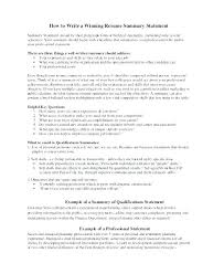 Personal Qualifications Statement Summary Of Qualifications Sample Resume Thrifdecorblog Com
