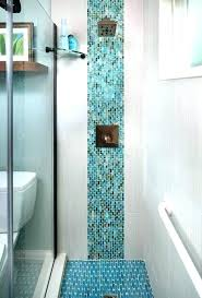 penny glass mosaic tile shower floor contemporary 3 4 bathroom with floors white grey grout pe penny round glass
