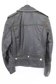 17aw l01 a vintage processing studs pins leather riders jacket