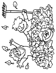 Small Picture Autumn Leaves Coloring Page 3 Kids Playing in Leaves