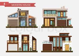 modern private home office. vector flat illustration traditional and modern house family home office building private pavement backyard with garage w