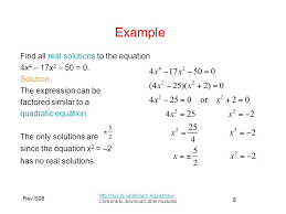 example find all real solutions to the equation 4x4 17x2 50 0