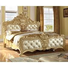 Meridian Furniture Zelda-Q Zelda Queen Bed in Ornate Rich Gold & Silver w/  Crystal Tufted Headboard & Footboard