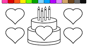 Small Picture Learn Colors for Kids and Color Heart Birthday Cake Coloring Page