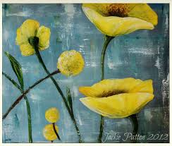 palette knife painting textured yellow poppies