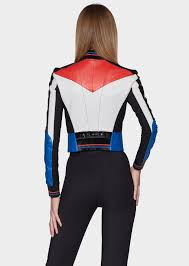 versace color block leather biker jacket for women versace powered by magic zoom move your mouse over image