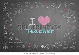 Teacher Message Love Teacher Message On Black Chalkboard Royalty Free