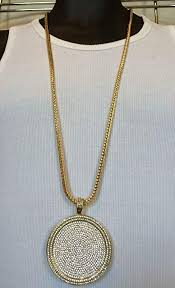bitter sweet mens iced out hip hop gold round cz medallion pendant 36 franco