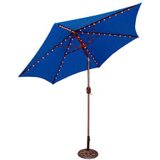 Blue Patio Umbrella With Lights 9 Round Lighted Patio Umbrella Blue In 2019 Products