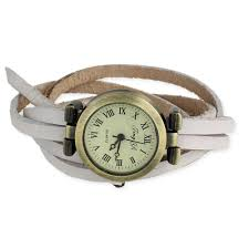 white leather wrap watch view detailed images 1