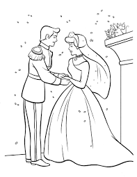 disney princess cinderella and perfect prince charming coloring pages