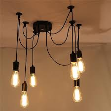 captivating diy ceiling lights lemonbest 6 head e27 vintage diy ceiling chandelier light fixtures