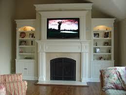 interior flat tv screen concrete fireplace mantels