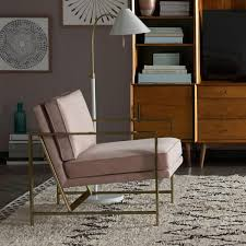 metal frame upholstered chair dusty blush