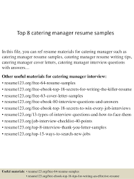 Amazing Design Catering Manager Resume Catering Sales Manager