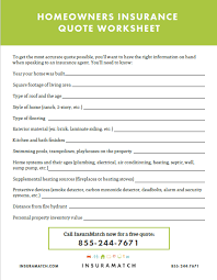 Homeowners Quote Enchanting Homeowners Insurance Quote Worksheet Insuramatch
