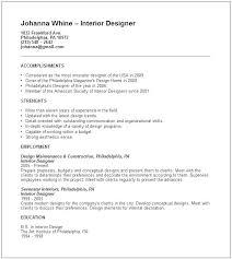 Interior Designer Resume Bitacorita