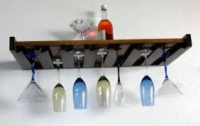 wine glass bottles wood stemware wall mount rack holder