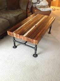 wood and pipe table coffee table made from old and black iron pipe diy wood and
