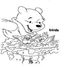 Kleurplaat Winnie De Pooh Kijkt Naar Badende Vogeltjes