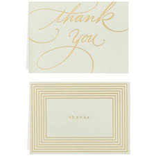 Gold Lines On Mint Thank You Notes Box Of 10 Note Cards