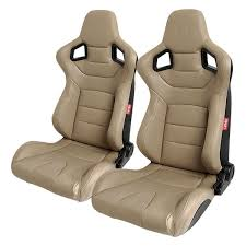cipher auto cpa2001 euro series reclinable steel tubular frame racing seats beige leatherette