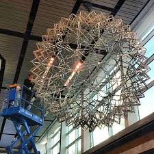 second largest hoberman sphere in the world undergoing maintenance at liberty science center