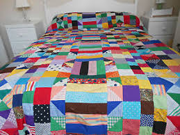 Vintage Style Hand Stitched Multi Coloured Patchwork Quilt Cover ... & Image is loading Vintage-Style-Hand-Stitched-Multi-Coloured-Patchwork-Quilt- Adamdwight.com