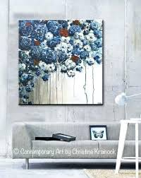 blue and white wall decor original art abstract blue flowers painting textured red white blue navy on navy blue flower wall art with blue and white wall decor original art abstract blue flowers