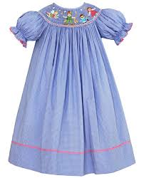 Anavini Girls Periwinkle Blue Gingham Smocked Peter Pan