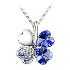four leaf clover crystal heart pendant necklace for women at banggood sold out