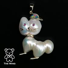 details about baroque pearl cat charm necklace australian opal ruby eyes 14k yellow gold