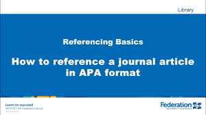 How To Reference A Journal Article In Apa Format
