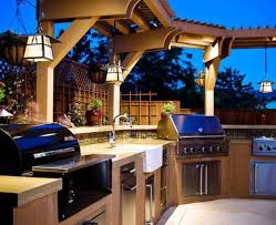 outdoor kitchen lighting. Decorations:Luxury Modern Outdoor Kitchen With Hardwood Cabinet And Hanging Light Design Luxury Lighting T