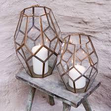 Handmade Bathroom Accessories Geometric Brass Lantern Pillar Candles Handmade And Accessories