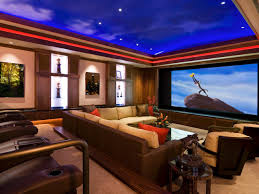 Interior:Theater Room Ideas for Changing Your Basement Amazing Theater Room  Design With Blue Ceiling