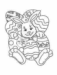 Easter Coloring Pages For Boys Bunny With Many Eggs Page Kids